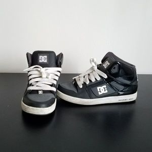 DC Black and white skateboard shoes.